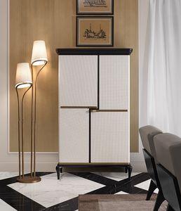 Dilan Art. D50, Mueble bar cubierto de cuero blanco.