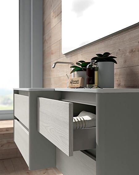 Dress 2.0 comp.05, Mueble de baño de madera con espejo