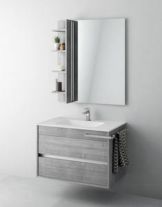 Duetto comp.01, Mueble de baño con espejo y compartimento de almacenamiento