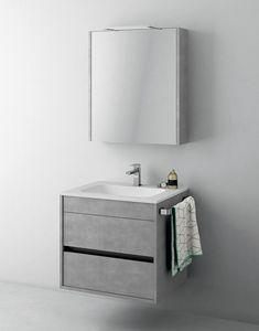 Duetto comp.02, Gabinete economizador de espacio para baño, con espejo