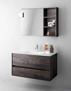 Duetto comp.03, Gabinete economizador de espacio para baño con espejo y estante