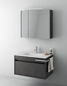 Duetto comp.07, Ahorro de espacio en muebles de baño con espejo de almacenamiento