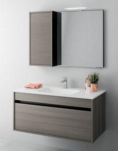 Duetto comp.10, Gabinete de baño que ahorra espacio con cajones sin mango