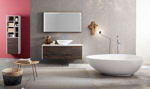 Kami comp.02, Mueble de baño modular con lavabo sobre encimera