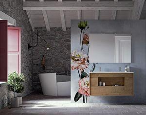 Lume comp.01, Mueble de baño de madera, con aberturas sin tiradores