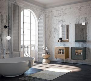 Lume comp.04, Muebles de baño con espejo y cajones
