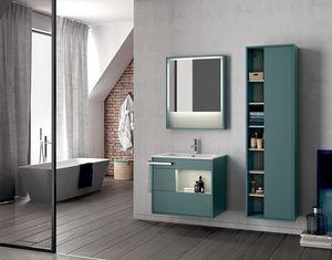 Lume comp.14, Mueble de baño de pared con espejo