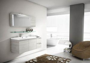 Mistral comp.08, Espejo con puerta de colgajo, para muebles de baño