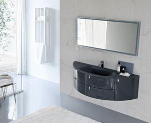 My Fly Evo comp.16, Gabinete de baño de diseño curvo con tapa de cristal arenado