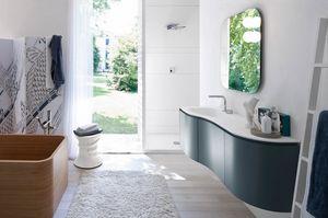 My seventy plus comp.10, Mueble de baño con líneas sinuosas, sin mango
