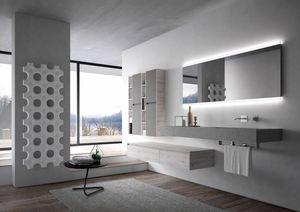 Nyù comp.16, Muebles de baño con gran espejo retroiluminado