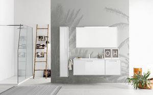 Summit 2.0 comp.13, Mueble de baño con espejo con marco y luz integrada