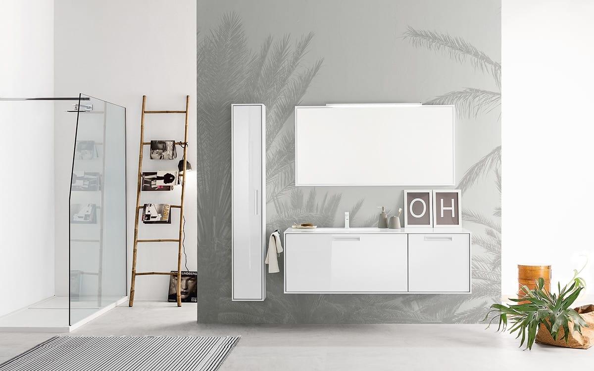 Mueble de ba o con espejo con marco y luz integrada - Espejo bano con luz integrada ...