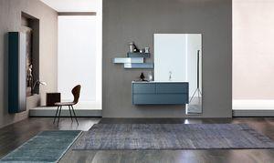 Tender comp.04, Mueble de baño con espejo grande y estantes