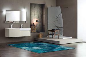 Tender comp.06, Mueble de baño con doble lavabo y compartimentos de almacenamiento
