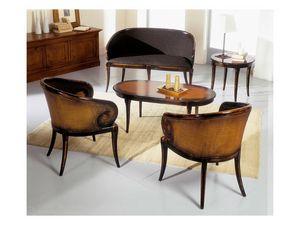 TOFEE round table 8179TL, Mesa de centro redonda de madera maciza, de estilo clásico