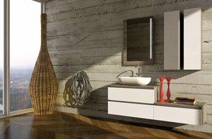 COMPONIBILE 07, Mueble bajo lavabo modular de pared con armario