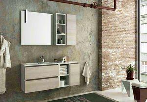 COMPONIBILE 11, Mueble bajo lavabo suspendido con cajones