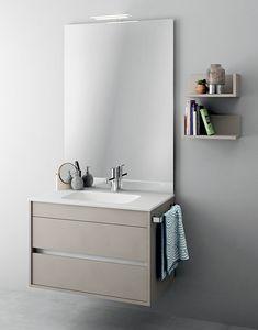 Duetto comp.08, Muebles monobloque con espejo para baños pequeños
