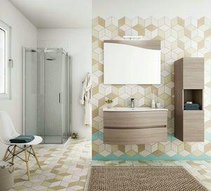 FLEX 01, Mueble de baño suspendido con cajones con espejo.