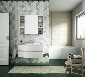 FLEX 02, Mueble de baño suspendido con cajones con espejo.