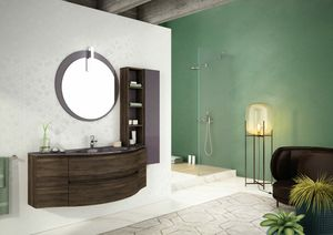 FREEDOM 02, Mueble bajo lavabo simple suspendido en HPL con espejo