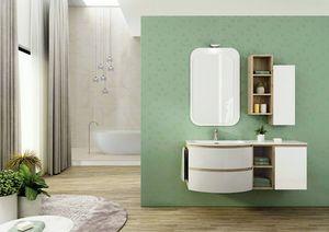 FREEDOM 03, Mueble bajo lavabo simple suspendido en HPL con espejo
