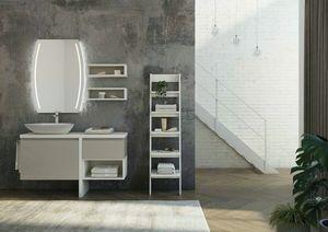 FREEDOM 11, Mueble bajo lavabo simple de melamina lacada con espejo.