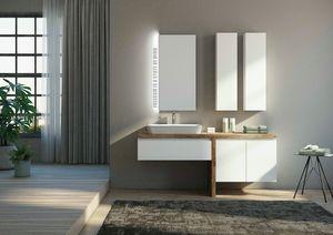 FREEDOM 12, Mueble bajo lavabo simple lacado de abeto con espejo