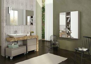 FREEDOM 13, Mueble bajo lavabo simple en madera con espejo.