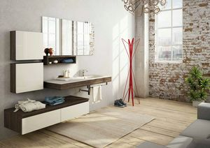 FREEDOM 18, Mueble bajo lavabo simple suspendido de melamina con espejo