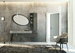 FREEDOM 24, Mueble bajo lavabo simple de gres porcelánico con puertas con espejo