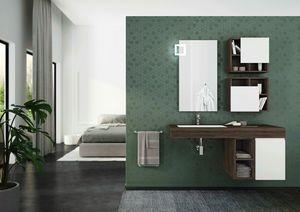 FREEDOM 27, Mueble bajo lavabo simple suspendido en HPL con puertas