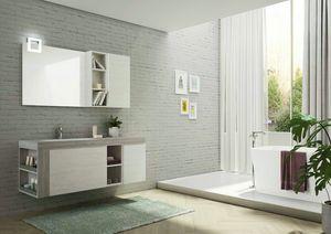 FREEDOM 28, Mueble bajo lavabo simple suspendido en HPL con espejo