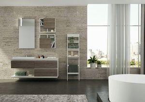FREEDOM 38, Mueble bajo lavabo simple suspendido de melamina con espejo