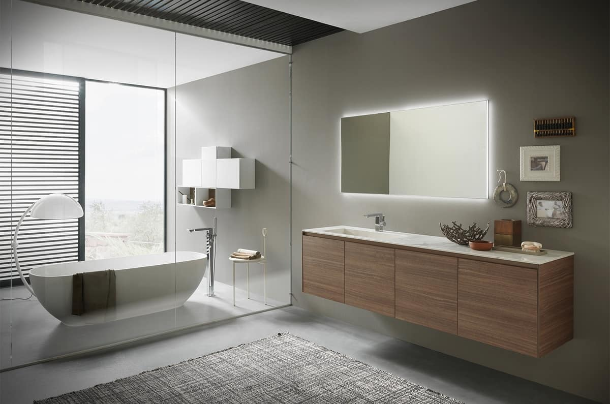 Gabinete De Ba O Reacondicionado Con Lavabo De Gres Brillante  # Muebles Reacondicionados