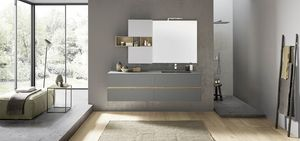 Lime 2.0 comp.208, Mueble de baño con fregadero integrado, unidad de pared con compartimentos abiertos