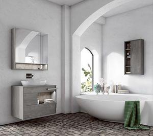 Lume comp.02, Mueble de baño con lavabo ovalado