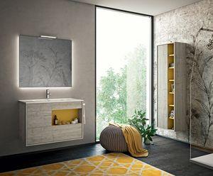 Lume comp.07, Mueble de baño con espejo retroiluminado
