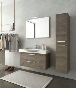 MANHATTAN M13, Mueble bajo lavabo suspendido de madera con cajones