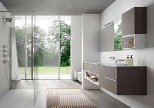 My time comp.01, Mueble de baño moderno con lavabo de vidrio extra cristal