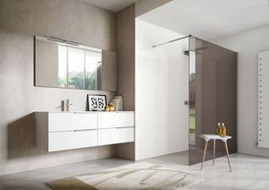 My time comp.03, Mueble de baño lacado blanco con dos lavabos integrados