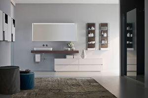 Nyù comp.08, Muebles de baño, modular, con lavabo de cerámica oval