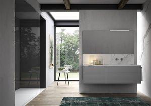 Sense comp.02, Mueble de baño con lavabo en gres de mármol