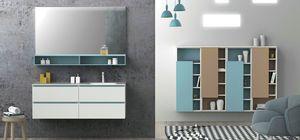 Torana TR 021, Mueble de ba�o blanco con detalles azules, fregadero integrado en la parte superior