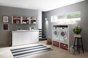 Lime Wash comp.07, Muebles de lavandería, con elementos de almacenamiento