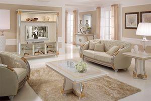 Liberty unidad de pared, Pared de TV con líneas clásicas, ideales para decorar habitaciones de lujo de vida, con detalles en pan de oro