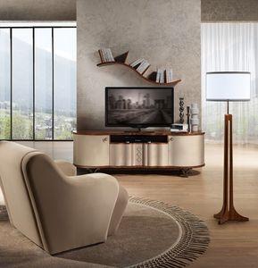 MB57 Mistral Mueble de TV, Mueble de televisión de madera cubierto de cuero, patas de acero