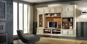 R 11, Mueble de televisión lacado, con estantes y armarios