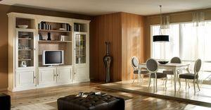 R 14, Mueble de televisión lacado, con estanterías y armarios